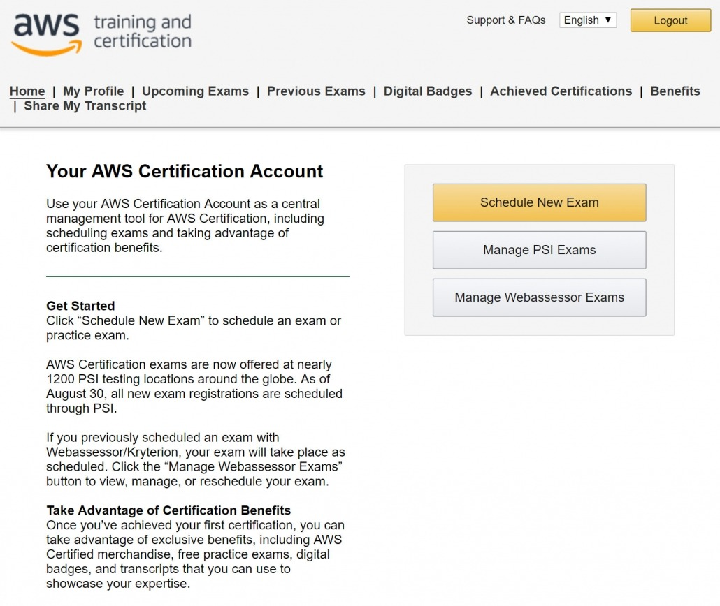 Register Amazon AWS Certification Account