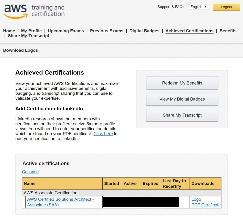 Register Amazon AWS Certification Account